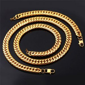 Set de collar de  acero enchapado en oro para caballero