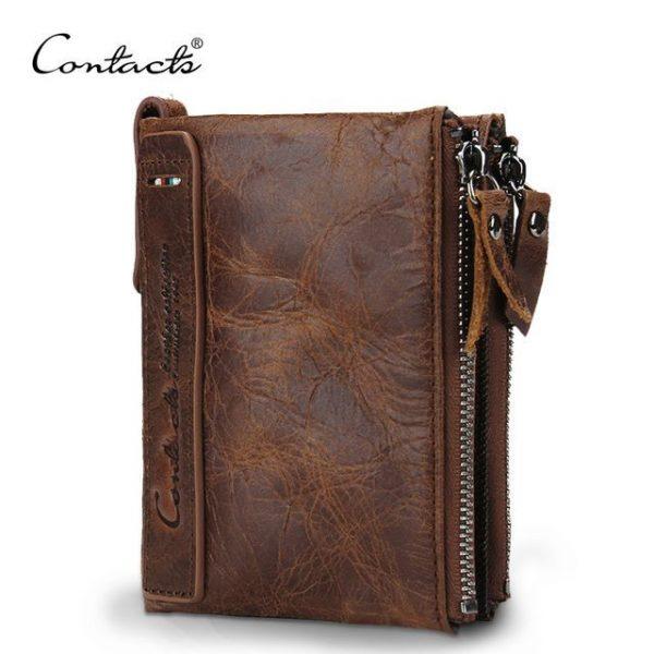 billetera de cuero marca contacts