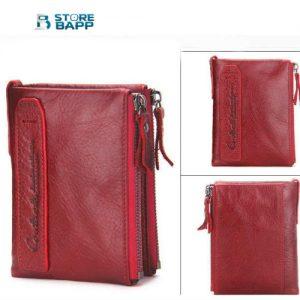 billetera de cuero color rojo en marca contacts