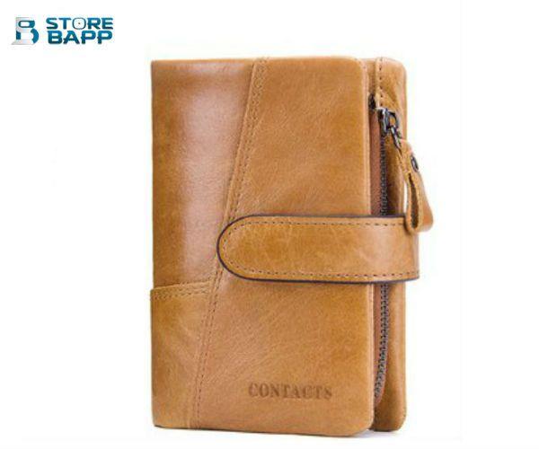 billetera de cuero para hombre marca contacts