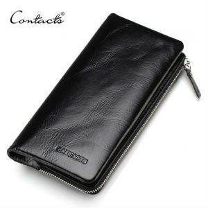 billetera de cuero porta celular