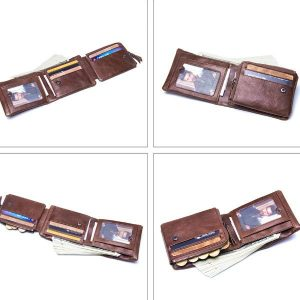 billetera de cuero tres cuerpos para hombre
